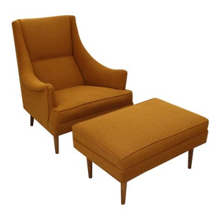 Mid Century Modern upholstered arm chair and ottoman