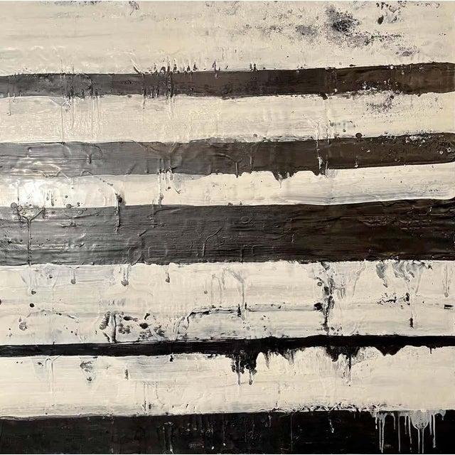 "Modern Lynn Basa Encaustic Black and White Stripe Panel ""Mostly White"" 2012 For Sale - Image 3 of 12"