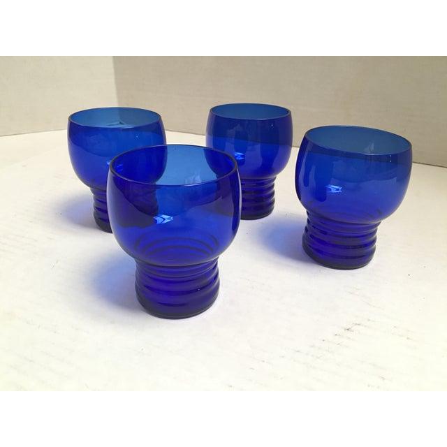 Art Deco Blue Cobalt Mid-Century Cocktail Glasses- S/4 For Sale - Image 3 of 7