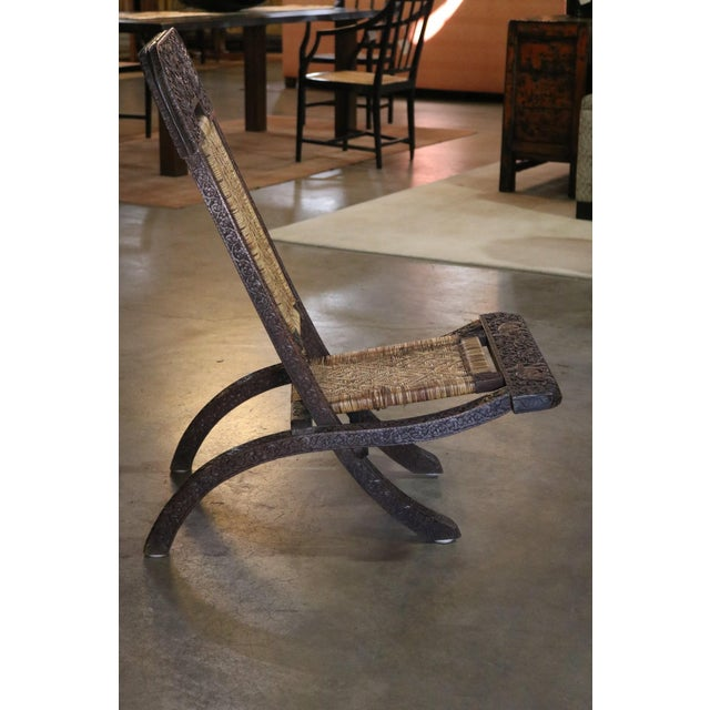 Folding Carved Wood and Bamboo Chair, Thailand, c. 1920 Formely Owned by Doris Duke