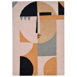 Modern Abstract Wool Figurative Female Face Rug - 5′ × 7′ For Sale