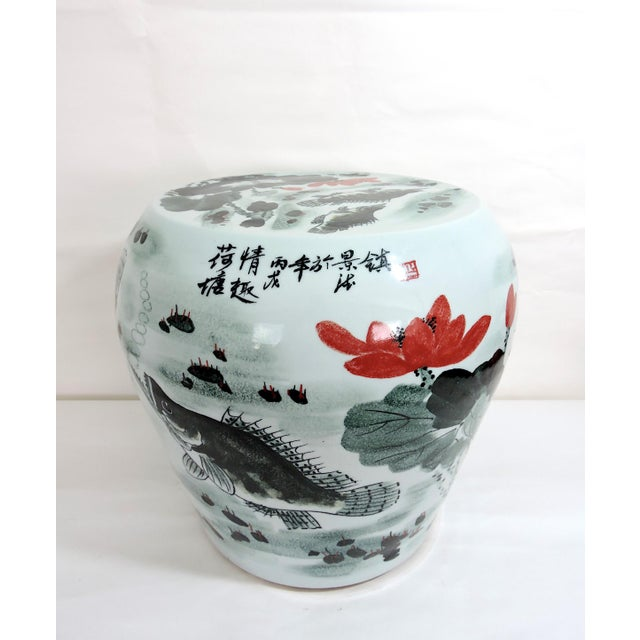 Vintage Fish & Lotus Flower Chinese Ceramic Drum Seat or Garden Stool, Side Table, Pedestal For Sale In Tampa - Image 6 of 8