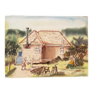 """Vintage Watercolor """"Country Chores"""" C.1970s For Sale"""