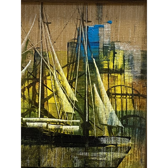 Vintage Oil on Canvas Signed Moss Nautical Sailboats Framed For Sale - Image 4 of 10