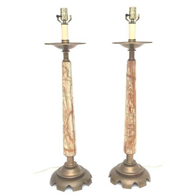 Mid-Century Onyx and Bronze Lamps - a Pair For Sale - Image 12 of 12