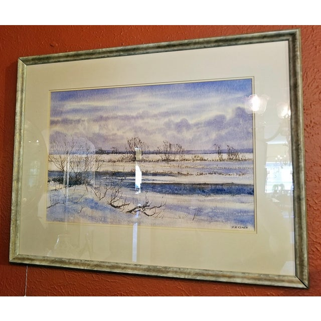 """Early 21st Century Vintage Irish """"Winter Scene"""" Watercolor by Rev Jh Flack For Sale - Image 4 of 9"""