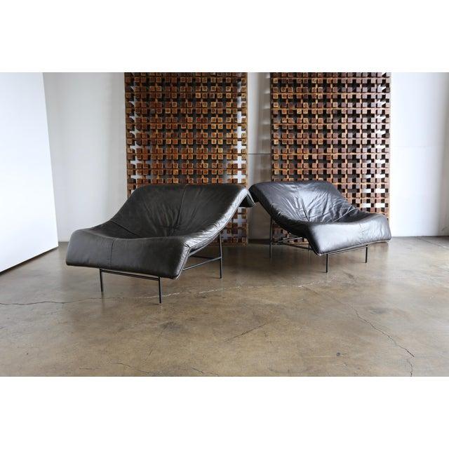 Gerard Van Den Berg butterfly chairs, circa 1983. This pair has a nice original patina. A very comfortable pair.