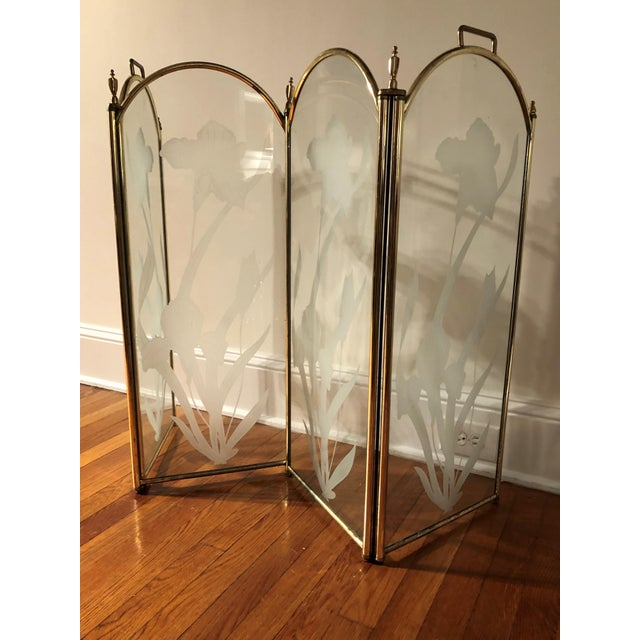 Glass Vintage Mid Century Hollywood Regency 4 Panel Brass Etched Glass Fireplace Screen For Sale - Image 7 of 11