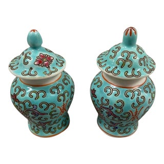 Vintage Chinese Aqua Blue Miniature Famille Rose Ginger Jars - a Pair For Sale
