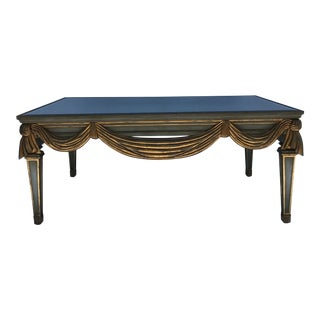Carved Swag Wood Mirror Top Coffee Table