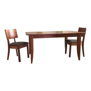 Mid-Century Modern Arhaus Natural Cherry Dining Set - 3 Pieces For Sale