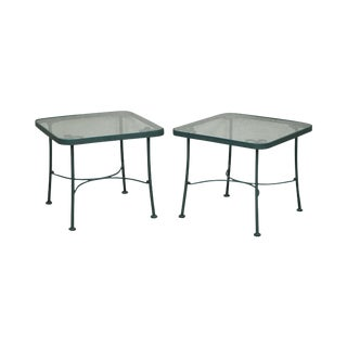 Woodard Pair of Green Metal Glass Top Patio Side Tables For Sale