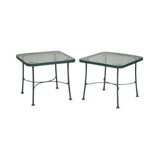 Woodard Pair of Green Metal Glass Top Patio Side Tables