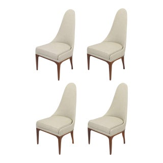 Set Four Rosewood & Linen Spoon-Back Dining Chairs For Sale