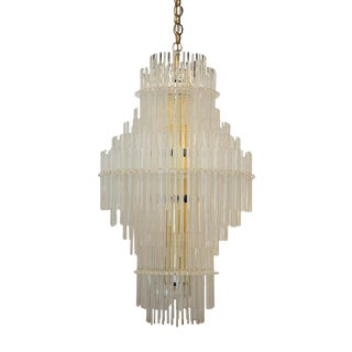 Monumental Glass Rod Chandelier, 3 Ft. Tall For Sale