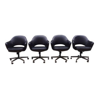 Black Leather Knoll Saarinen Executive Armchairs- Set of 4 For Sale