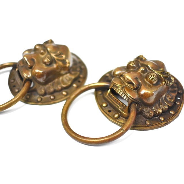 Brass Vintage Mid Century Small Warrior Door Knockers- a Pair For Sale - Image 7 of 13