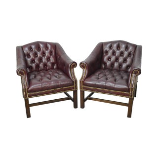 Chippendale Chesterfield Style Pair of Oxblood Tufted Leather Club Chairs by Hickory
