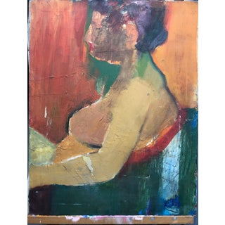 Mid Century Figure Painting Woman Seated in Chair For Sale