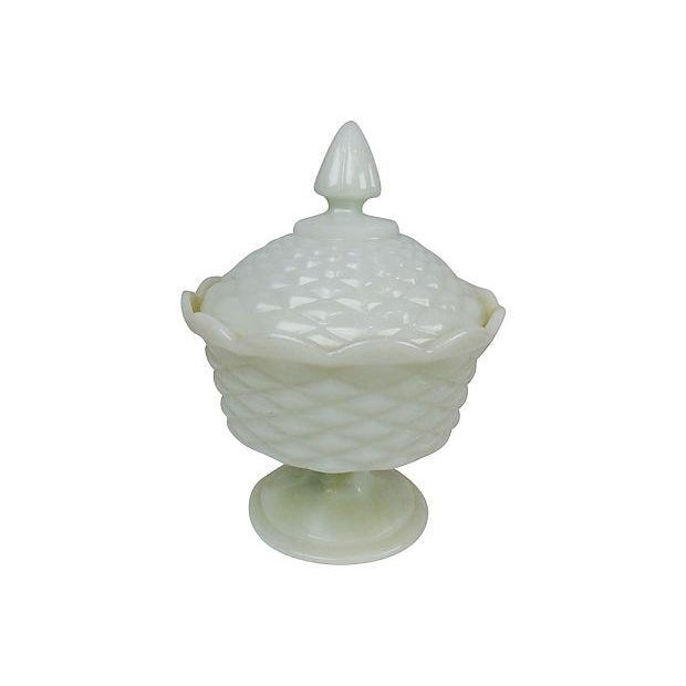 Cottage Milk Glass Pedestal Candy Dish For Sale - Image 3 of 3