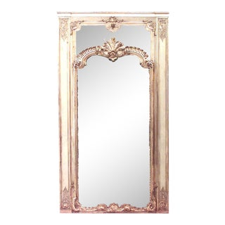 19th Century Louis XVI Painted Trumeau Wall Mirror For Sale