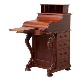 20th Century Walnut Piano Top Davenport Desk For Sale