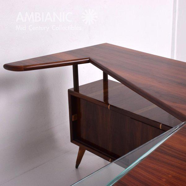 Pepe Mendoza Modernist Rosewood Desk with Mendoza Hardware For Sale - Image 4 of 10