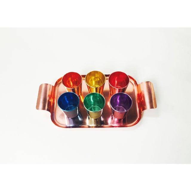 Colorful Vintage German Metal Shot Glasses - Set of 6 - Image 4 of 6