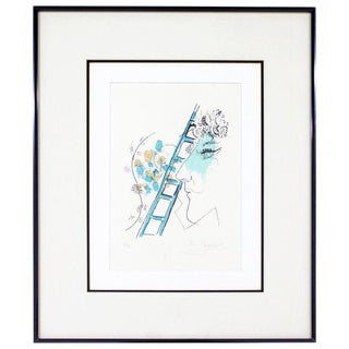 Mid Century Modern Framed Marc Chagall Etching Litho l'Echelle Signed 36/90 1957 For Sale