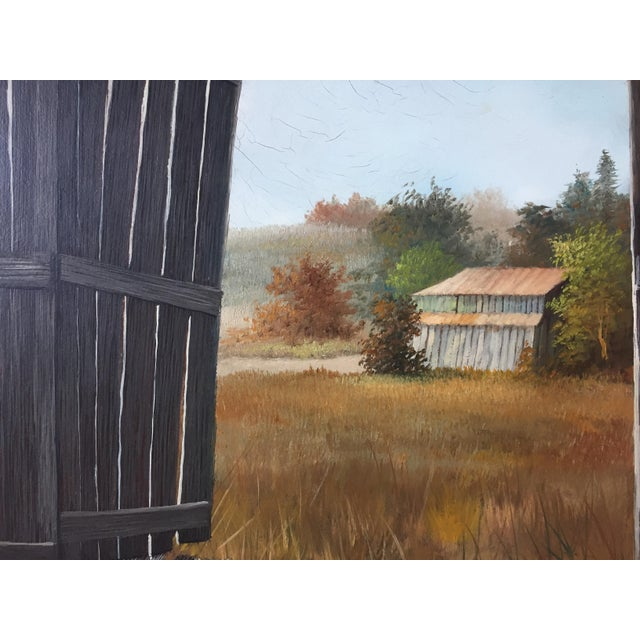 Vintage Barn Landscape Painting Signed by Drago - Image 5 of 9