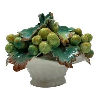 1960s Italian Majolica Ceramic Bowl of Grapes For Sale