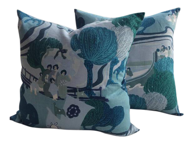 Schumacher Pillows In Pearl River In Sea Colorway   A Pair