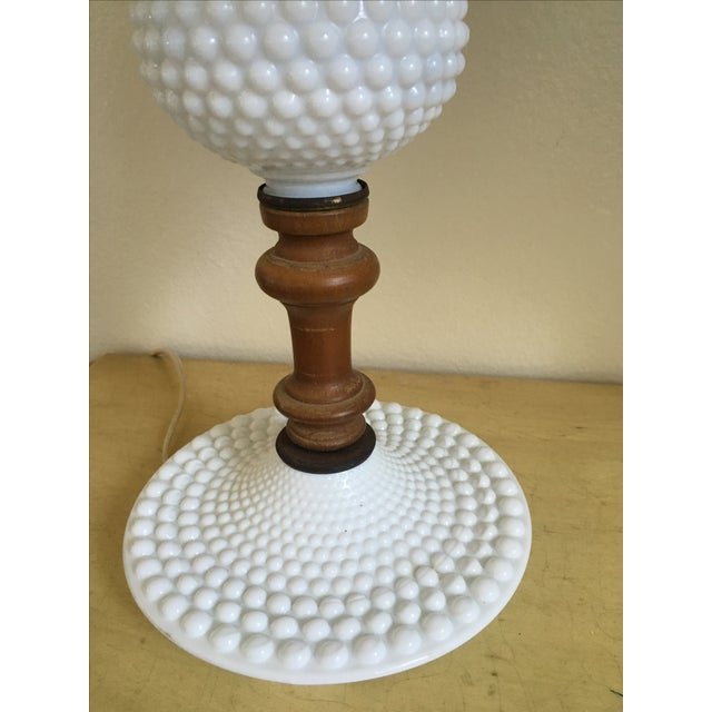 Boho Chic Mid-Century Wood & Hobnail Milk Glass Lamps - Pair For Sale - Image 3 of 10