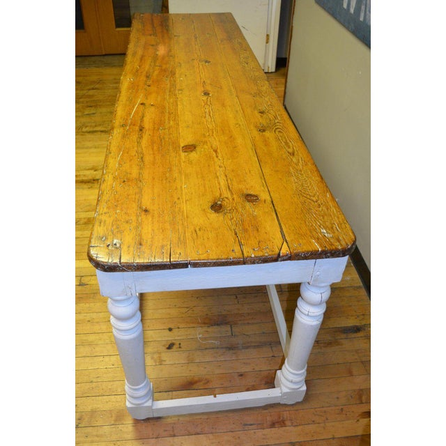 1900s Kitchen Island Restaurant Prep From Rectory Table 100 Years Old. Ships Free. For Sale - Image 5 of 11