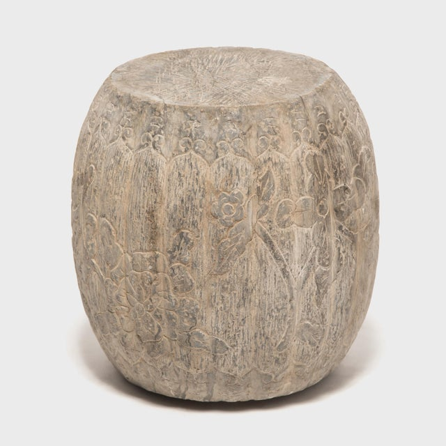 Chinese Floral Melon Drum Stool For Sale - Image 4 of 8