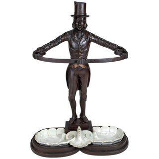 Cast Iron Stick or Umbrella Stand in the Form of a Footman For Sale