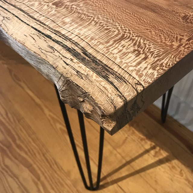 Metal Organic Modern Live Edge Maple Slab Desk With Hairpin Legs For Sale - Image 7 of 12