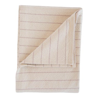 Cotton Pinstripe Throw in Blush For Sale
