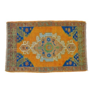 Distressed Low Pile Turkish Yastik Petite Rug Faded Mat - 24'' X 37'' For Sale