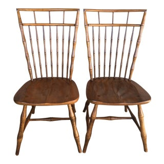 Ethan Allen Birdcage Style Nutmeg Finish Side Chairs - a Pair For Sale
