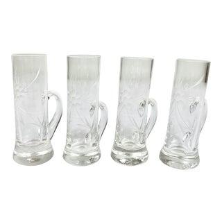 Vintage Depression Glass Etched Flower Shot Glasses-Set of 4 For Sale