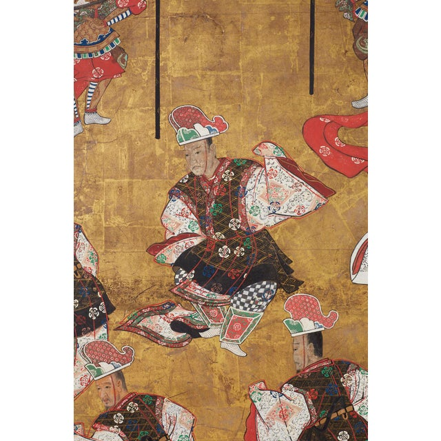 Japanese Edo Bugaku Imperial Court Dance Two-Panel Screen For Sale - Image 10 of 13