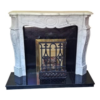 20c Irish White Marble Fireplace - Complete For Sale