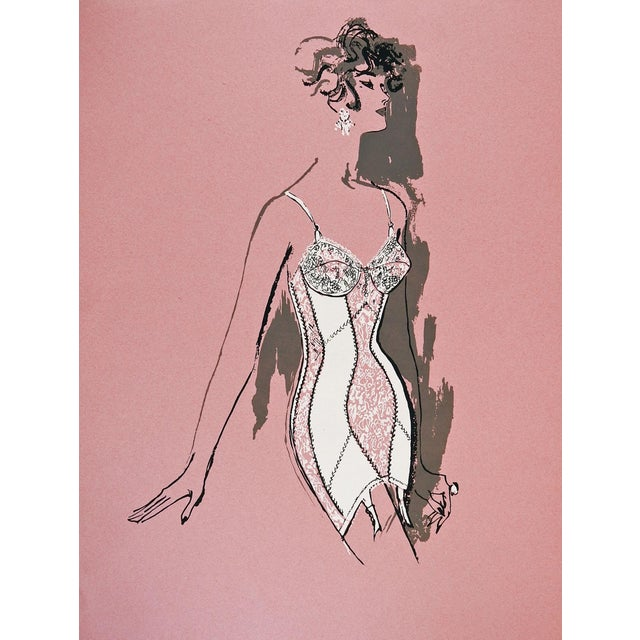 Boho Chic Lingerie Fashion Serigraph, 1960s For Sale - Image 3 of 3