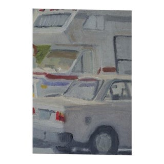 Vintage Oil on Canvas Painting of Parked Cars For Sale