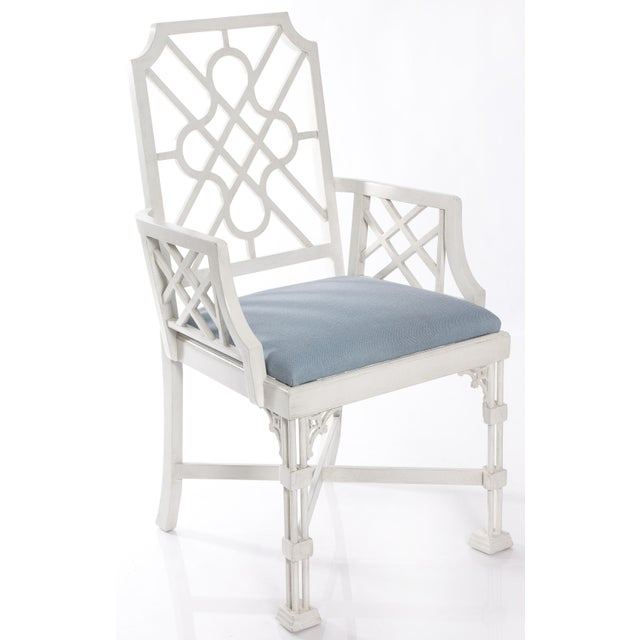 White Painted Chinese Chippendale Style Fretwork Armchairs - A Pair - Image 4 of 8