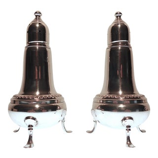 Mid 20th Century Empire Sterling Silver Salt and Pepper Shakers For Sale