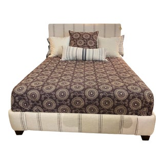 Vertical Stripe Queen Upholstered Bed For Sale