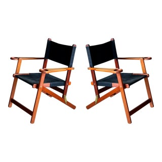 Pair of Danish Midcentury Folding Deck Chairs in Solid Teak For Sale
