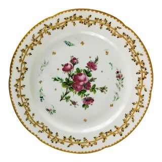 Late 18th Century Fabrique De La Courtille Rose and Gold Garland Plate For Sale